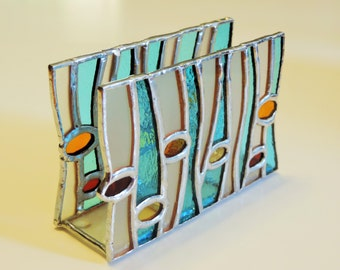 Summer vertical napkin holder, Stained glass napkin holder