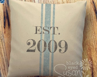 "Distressed Date w/ French Stripe Pillow Cover | Natural Canvas or Lined Burlap | 12""x12"" 16""x16"" 20""x20"" 