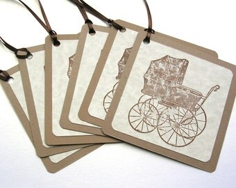 Baby CarriageTags - Scrapbooking Journal Tags - Baby Shower Wish Tags - Baby Shower Favor Tags - Rustic Baby Tags