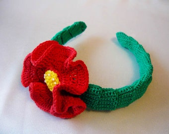Crochet Hair Band With Poppy Flower Pattern and Tutorial