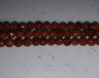 Goldstone beads 4mm round beads 4mm faceted beads 4mm brown beads round faceted beads round 4mm beads