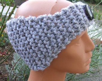 Hand knit ear warmer - Knitted Headband - Knitted Hairband -  Chunky headband with button - Ladies hand knitted grey tweed effect headband