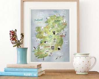 Ireland Map, Giclee Print, illustrated map Ireland, Ireland poster, Ireland art, Irish map, travel illustration, farewell gift, roadtrip map