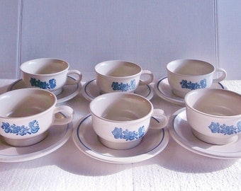 Vintage Ceramic Pfaltzgraff Cup Saucer Set-6 (12 Piece) Blue Yorktowne/Dinnerware Set; 3 SETS OF 6 AVAILABLE Country, Collectible, Retired