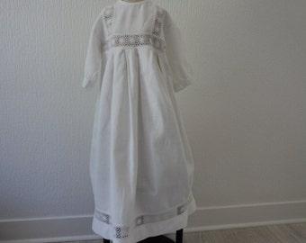 Superbe main vintage Français fait la robe de baptême héritage (02846)