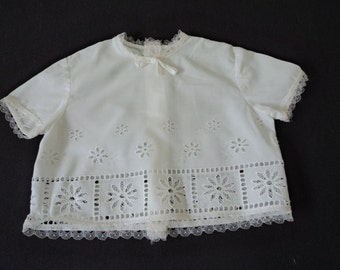 French vintage beautiful white cotton babies dress / blouse  (02909)
