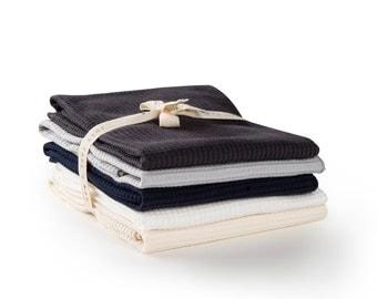 Kitchen Towel Set Organic Cotton Waffle Weave Towel, Tea Towel Flour Sack Towel, Housewarming Gift - Set of 5