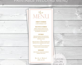 Blush/Gold Printable Wedding Menu | Classic | Brooke Collection | Custom Colors Available