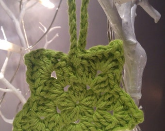 3 Crochet Puff-Centre Star Christmas Tree Ornaments (Lime)