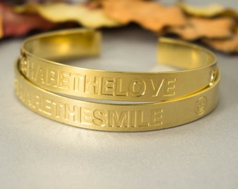 Quote Bracelet, Engraved Gold Bracelet, Personalized Gold Bracelet, Custom Gold Bracelet, Custom Gold Cuff, Inspirational Bracelet