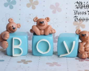 Edible 3D Teddy Bear Name or Number Blocks Fondant Cake Toppers , Choose Your Own Theme