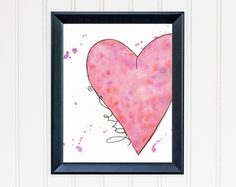 Love Watercolor Art Print. Heart Home Decor. 8x10 Wall Art. Love Art. Anniversary Gift. Romantic Gift. Gift for Girlfriend. Gift for Her.