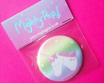 Rainbow Unicorn - Illustrated Pocket Mirror - Compact Mirror - Unicorn Mirror - Handbag Mirror