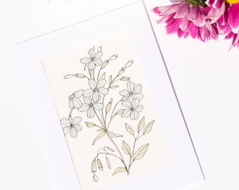 Light Blue Flowers - Watercolour Unique Hand Painted Greeting Card (Anniversary, Birthday, Thank you, Get well, Good luck card)