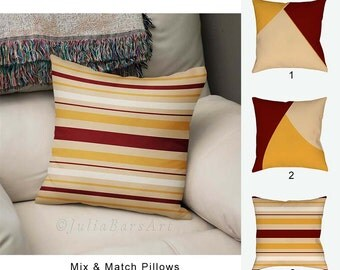 Yellow Red Pillow Covers, Vanilla Pillows, Decorative Throw Pillows, Living Room Decor, Designer Pillows, Sofa Pillows 16x16 18x18 20x20