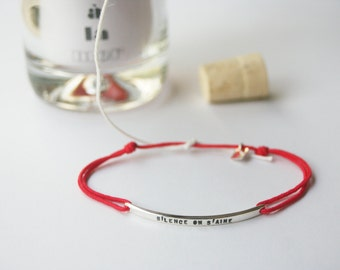 Bracelet personalized silver , to post , adjustable color cord presented in a bottle as a message to the sea