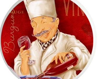 Wine Chef Ceramic Knob for Kitchen, Cabinets, Drawers, Bar