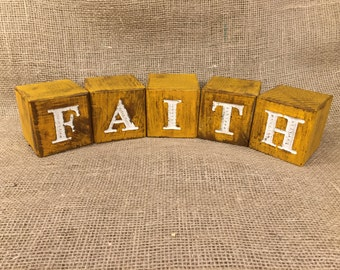 Rustic Wood Blocks Engraved with FAITH - Home Decor