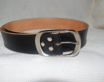 leather belt.black. handmade 100% real leather