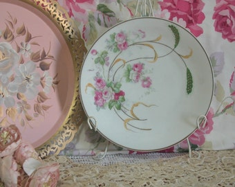Lovely Hand Painted Pink Cabbage Roses Porcelain Plate, Marked Silesia