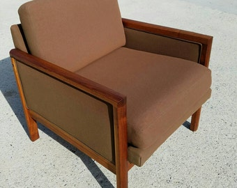 Mid Century chair -  Mid century Modern chair - Vintage Chair - Cube Chair - Wood Frame Cube Chair - Club Chair