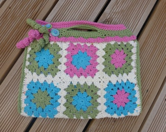 Handmade Crochet Granny Square Bag