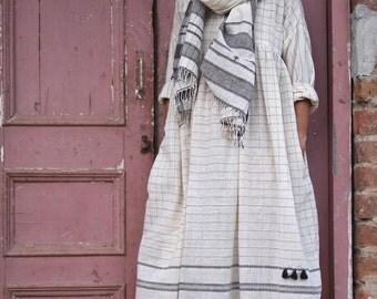 Samarra, Organic Kala Cotton Dress with Charcoal Woven Pattern