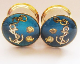 "Gold Ear Plugs, Nautical Anchor Gauges Ocean Blue Ear Tunnels Gauges 14mm 9/16"" to 51mm 2"""