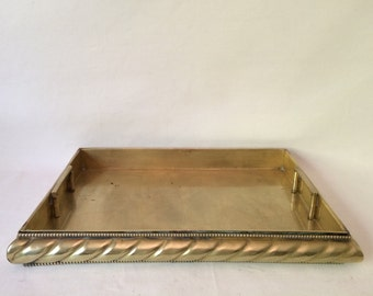 Large Vintage Mid Century Hollywood Regency Brass Rope Edge Retractable Handles Tray