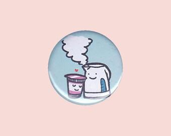 Love Cup Noodle Badge (cup noodle & kettle) - cup noodle pin, kawaii button, cup noodle button, cup noodles, cup noodle art