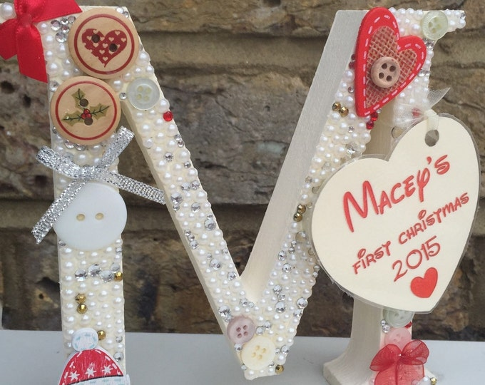 First Christmas free standing letter, Tag with any wording. Childrens, Santa, Buttons, Crystals, Pearls, Bows, Ornament, 13cm