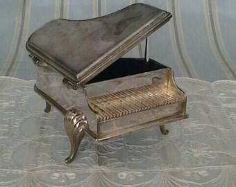 Vintage Trinket Box Silverplate Piano