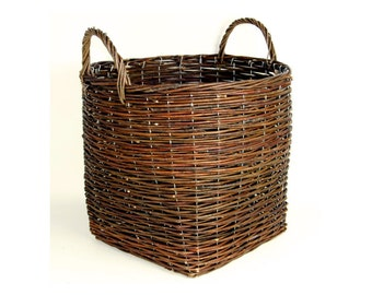 Willow Storage Basket, Reinforced with Wire, Complete with Sturdy Handles - Ideal Toy Storage or Log Basket