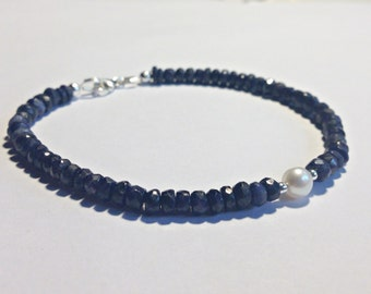 Dark Blue  Sapphire Bracelet. Sterling silver