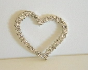 Silver Tone Heart Pendant with Clear Faux Diamonds Necklace