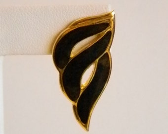 Gold Tone Black Enamel Long Swirl Pierced Earrings