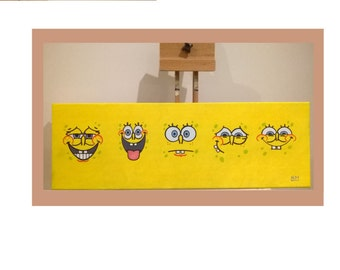 Spongebob Canvas, Handmade Acrylic Painting for Kids Rooms or Playrooms, Art for Children, 20x60cm
