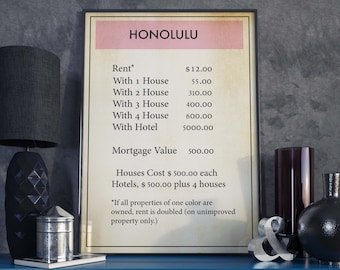 Monopoly| Monopoly Poster| Honolulu| Board Game Gift| Board Game Poster| Honolulu Poster| Monopoly Art| Monopoly Gift| Board Game Wall Art