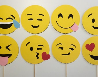 Emoji Photo Booth Props 8 Piece Set/ Emojis/ Smiley Faces/ Table Centerpiece/ Party Favors