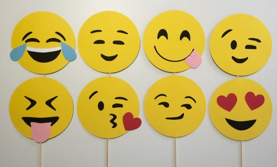 ... Props 8 Piece Set/ Emojis/ Smiley Faces/ Table Centerpiece/ Party