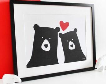 Bear Couple 'Selfie' Personalised Print