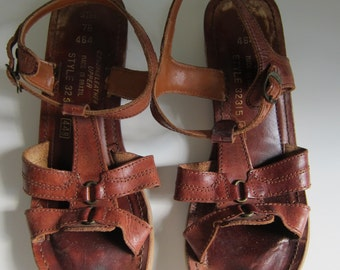 Vintage Brown Leather Sandals