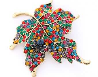 Rainbow Jewelry, Colorful Brooch, Maple Leaf Broach, Multicolor Brooches, Brooch, Broach, DIY Project Jewelry Craft Embellishment