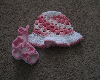 Crocheted Baby Sun Hat and Sandal Set-----Sizes Newborn to 24 months are available