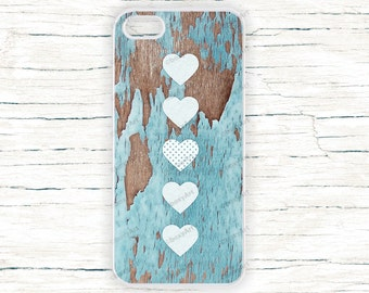 iPhone Case - Hearts on wood texture - iPhone 4/4s iPhone 5 iPhone 5c iPhone 5s iPhone 6 iPhone 6 Plus iPhone 6s iPhone 6s Plus iPhone SE