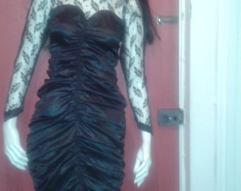 Sale vintage 80's ruched satin and lace dress sz: 8-10