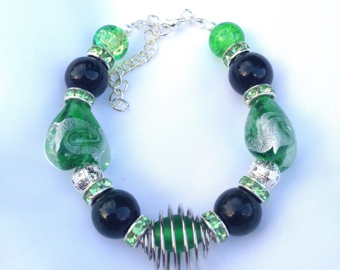 Green agate and glass bracelet, agate and glass bracelet, agate bracelet, glass bracelet, green agate bracelet, agate and glass