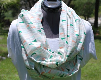 Ready to Ship* Organic Multi-Color Triangles Year-Round Infinity Scarf, Cowl