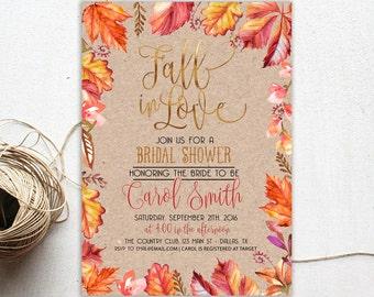 Bridal Shower Invitation Fall, Fall in Love Bridal Shower, Bridal Shower Autumn, Autumn Wedding Shower, Fall In Love invitation