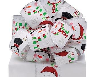 "New 20 yards SNOWMAN Christmas Ribbon, Wired 2-1/2"" SNOW MAN Holiday Ribbon"